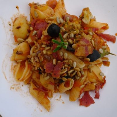 Roo's Vegetable Pasta with Crispy Bacon and Seeds