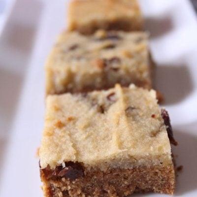 Raisin Bakewell Slice (Gluten, dairy, egg, soya & refined sugar-free) & LEON